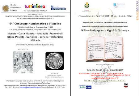 9ef737114b Convegno commerciale a Padova, letteratura in filatelia a Cantù (Como)